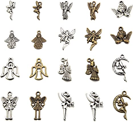 Angel Charm//Pendant Tibetan Antique Silver 16mm  12 Charms Accessory Jewellery