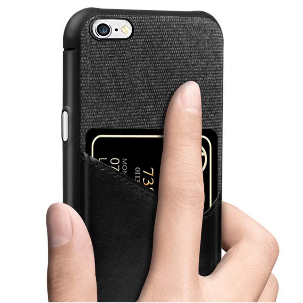 MoreChioce kompatibel mit iPhone 6S Plus H/ülle,kompatibel mit iPhone 6 Plus Lederh/ülle mit kartenfach,Elegant Stoff Silikon Handyh/ülle Crystal Sto/ßfest Schutzh/ülle R/ückschale Bumper,Marine