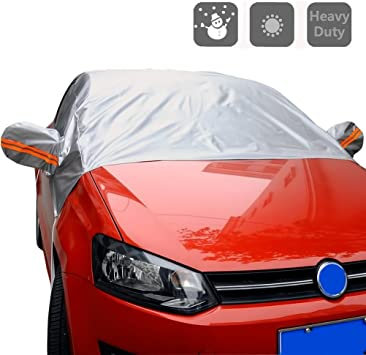 Aumo-mate Half Car Cover Protector Outdoor Snow Dust Rain Resistant Shield Car Covers Solar Protection
