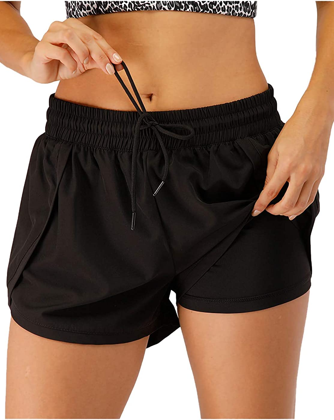 Anna-Kaci Womens Running Shorts Fitness Workout Athletic Shorts with Pockets