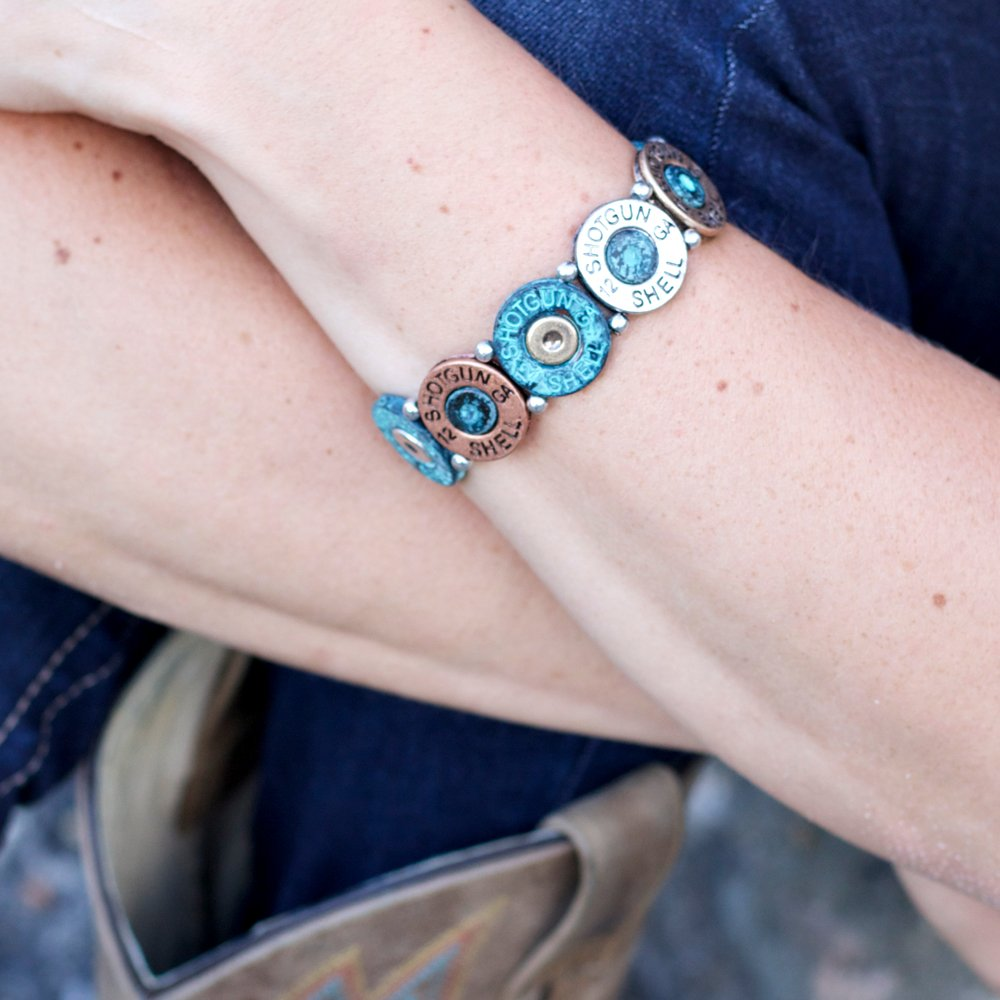 Mixed Metal (Silver, Brass, and Patina) Western Shotgun Shell Bracelet from the WYO-HORSE Jewelry Collection (Patina) by Wyo-Horse (Image #3)