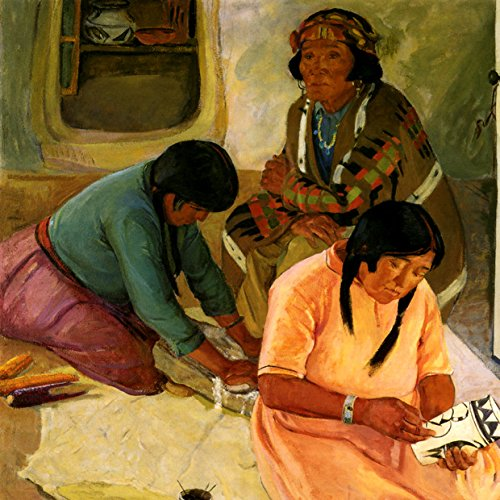 INDIAN WOMEN MAKING POTTERY AMERICAN WEST PAINTING BY CATHERINE C. CRITCHER LARGE REPRO ON ()