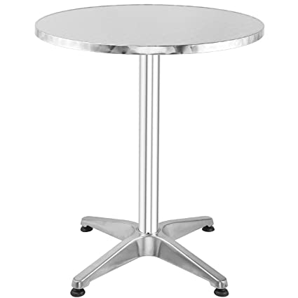 Merveilleux Hromee Bistro Bar Table 23.5u0026quot; Aluminum Round Tabletop For Indoor  Outdoor, Silver