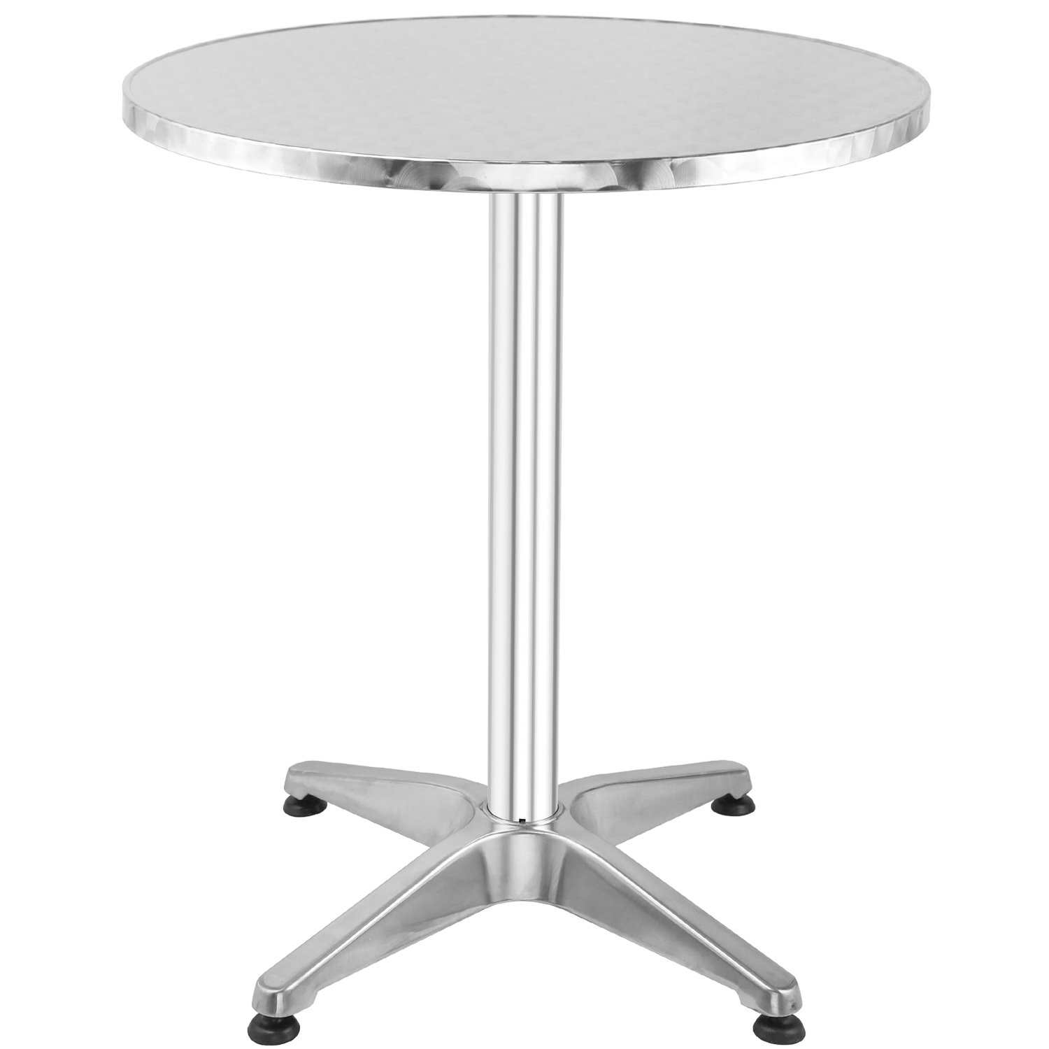 Hromee Bistro Bar Table 23.5'' Aluminum Round Tabletop for Indoor Outdoor, Silver