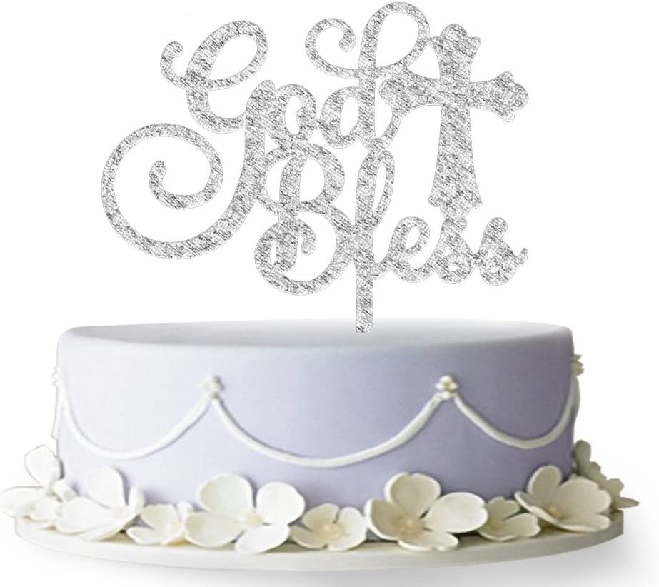 God Bless Acrylic Cake Topper for Baptism, Christening, Dedication or First Communion Decorations(Silver)