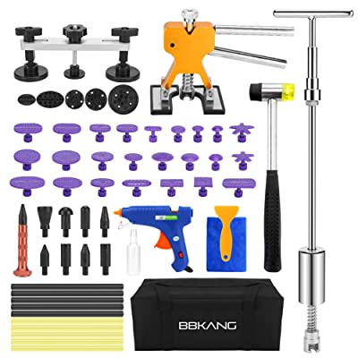 BBKANG Paintless Dent Repair Remover Removal Tool Kit 60pcs Professional Car Dent Remover Tools Bridge Puller T Puller Hot Glue Tap Down Kits: Automotive
