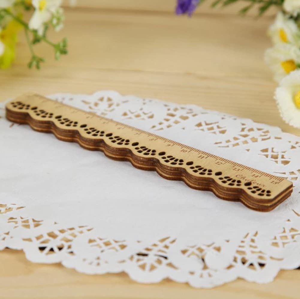 15cm Vikenner 1 Pcs Vintage Lace Wooden Straight Ruler Hollow Wave Shaped Scale Measuring Rulers for Student Office Stationery
