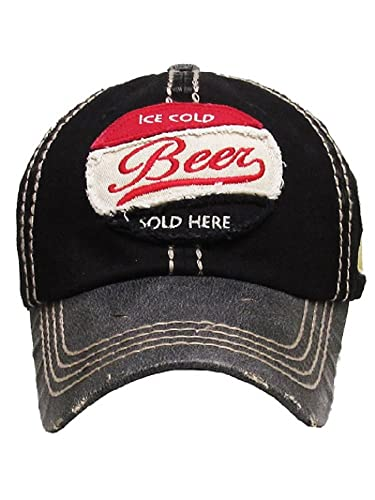 1b5199895e2 Amazon.com  Ice Cold Beer Sold Here Black Washed Ball Cap.  Jewelry