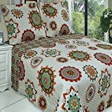 Quilt Coverlet Set Full Queen Double Size Orange Red Green Cream Boho Bohemian Mandala Medallion Pattern Lightweight Reversible Teen Girls Bedding