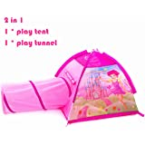 Kids Tent 2 in 1 Play Tent with Pop-up Crawling Tunnel Set ,Fairy Playhouse for Children Indoor and Outdoor Fun,Easy to Folding back with Storage Carry Bag