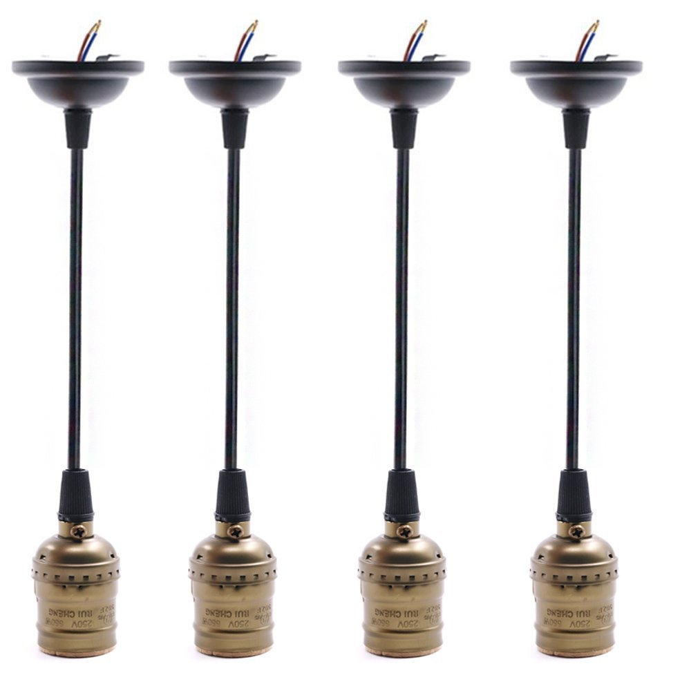 Swpeet 4 Pcs Vintage Bronze Edison Light Socket Screw Bulbs Light Lamp Holder with Wire, E26/E27 Base Adjustable Black Wire for Kitchens, Dining Rooms, Bars and Restaurants