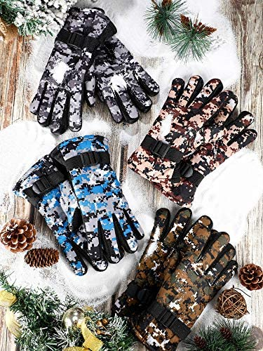 4 Pairs Kids Winter Snow Waterproof Warm Ski Gloves Unisex Camouflage Gloves for Cold Weather Children