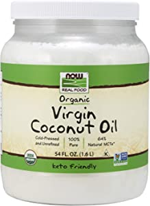 NOW Foods, Certified Organic Virgin Coconut Cooking Oil, Cold-Presesed and Unrefined, Trans Fat Free, 100% Pure andCertified Non-GMO, 54-Ounce