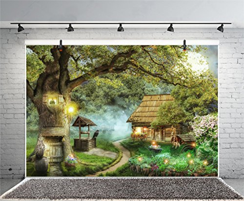 Leyiyi 10x8ft Photography Backdrop Fairy Tale World Background Merry Christmas Happy New Year Xmas Tree Enchanted Forest Witch Cottage Tree House Dog Halloween Photo Portrait Vinyl Studio Video Prop]()