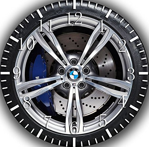 (Borderless Super Car Wheel Frameless Wall Clock W245 Nice for Decor Or Gifts)