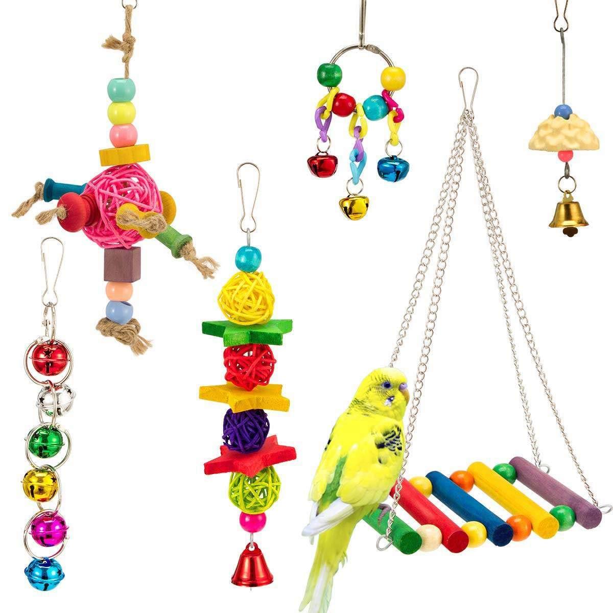 Bird Toys - Small Parrot Set Toy Color Swing Five Pointed Star Bell String Foot Claws Rattan Ball - Nest Prime Hangers Under Bird Medium Bells Perches Sticks Kabob Grey Balls Rawhide Talkin by Nolvalz