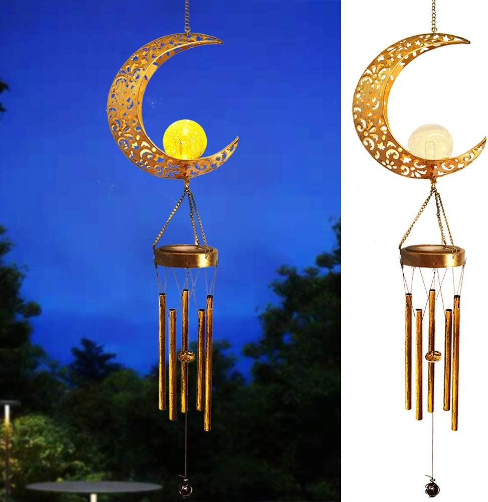 Hanging Garden Solar Lights Wind Chimes Outdoor Retro Brass Metal Moon Crackle Glass Globle Warm LED Moon Lights,Unique Memorial Gift with 5 Metal Tubes for Patio Garden Yard Lawn Decorations - 1 Pack