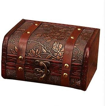 Caja de Almacenamiento de joyería de Madera Antigua Contenedor de ...