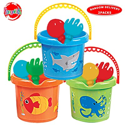 "Beach Basics Sand Toy Set Including 7"" Inch Beach Pails Sand Buckets & Rake and Shovel Toys for Kids Toddlers - Pack of 2 Sets: Toys & Games"