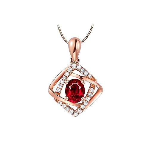 23c1d2a38013 AmDxD Joyería Oro Rosa de 18K Collares Pendientes para Mujer Rojo  Rectángulo Rubí Colgante 0.43CT Oro Rosa  Amazon.es  Joyería