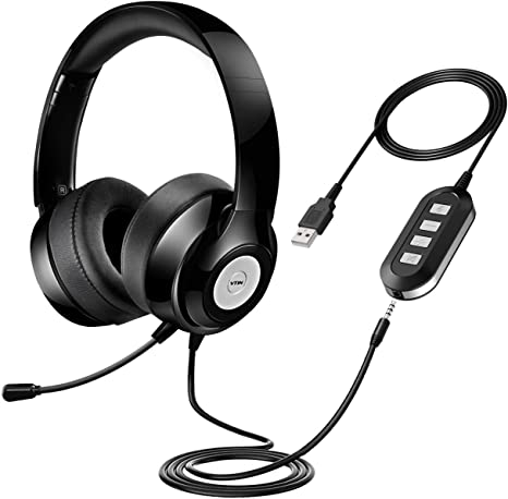 Amazon Com Vtin Headset With Microphone Usb Headset 3 5mm Computer Headphone Headset Noise Cancelling And Hands Free With Mic Stereo On Ear Wired Business Headset For Skype Call Center Pc Phone Mac Computers Accessories
