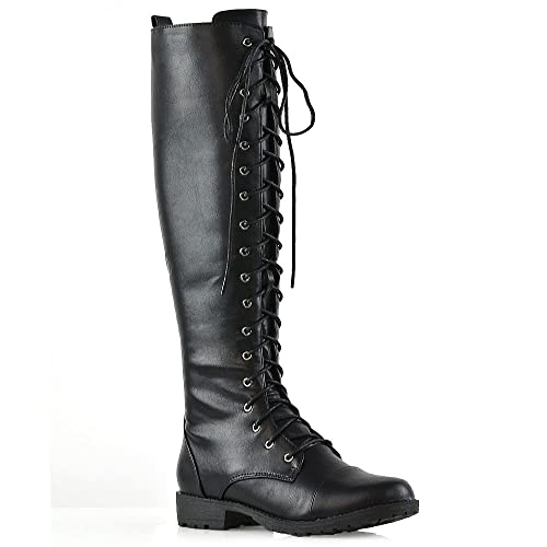 43cf79978124 ESSEX GLAM Womens Knee High Lace Up Calf Biker Ladies Black Zip Punk  Military Combat Army Block Heel Boots Size 3-8: Amazon.co.uk: Shoes & Bags