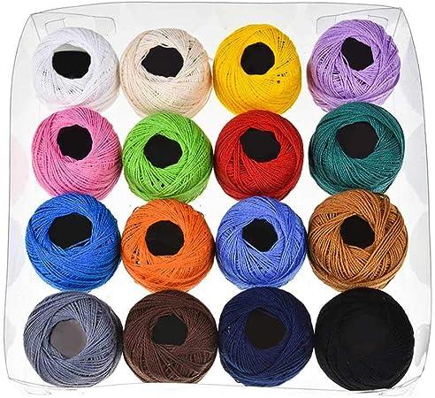 AOLVO Juego de 16 Hilos de Ganchillo, Colores de arcoíris de algodón Variados para Bordar, Hilo de teñir para Tejer a Mano: Amazon.es: Hogar