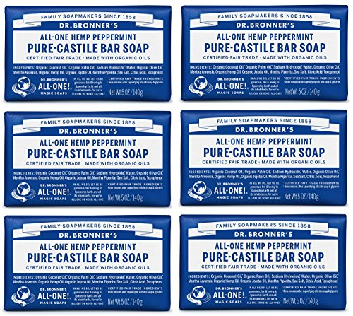 (Dr. Bronner's - Pure-Castile Bar Soap (Peppermint, 5 oz, 6-Pack) - Made with Organic Oils, For Face, Body & Hair, Gentle & Moisturizing, Biodegradable, Vegan, Cruelty-free, Non-GMO)