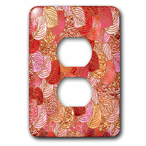 3dRose Uta Naumann Faux Glitter Pattern - Luxury Red Faux Metal Foil Glitter Autumnal Foliage Leaf Pattern - Light Switch Covers - 2 plug outlet cover (lsp_269090_6) by 3dRose (Image #1)