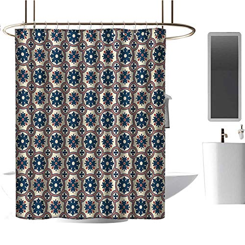 - Qenuan Rustic Shower Curtain Floral,Ornate Silhouettes Pattern with Circle Abstract Vintage Design Inspiration,Ruby Beige Navy Blue,3D Effect Bathroom Curtain 54
