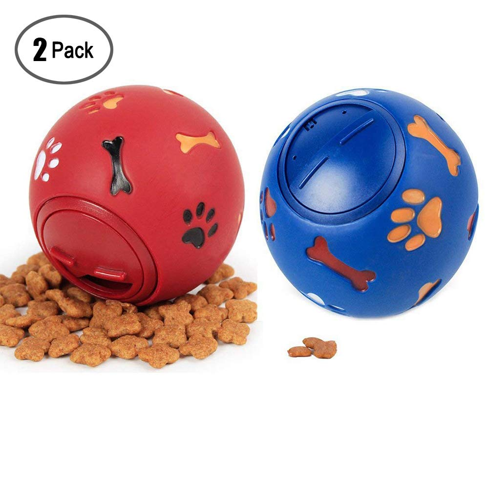Dog Toy Food Ball,Durable Rubber Dog Toy Chew toys Ball Interactive Squeak IQ Training Playing Pet Toy Balls,Dog Food Treat Feeder Tooth Cleaning for Small,Medium and Large Dogs(2 Pack)
