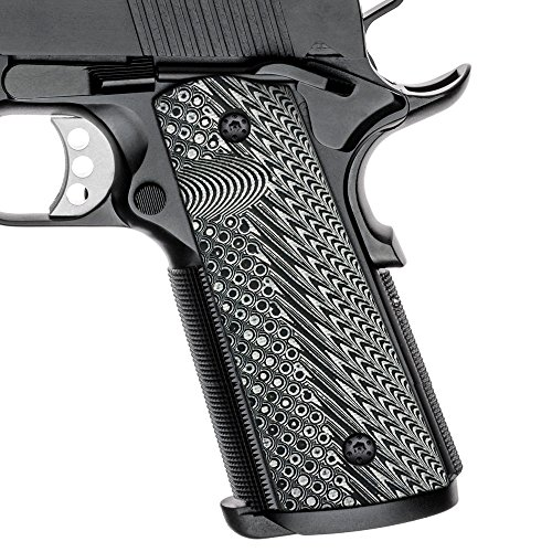 Cool Hand 1911 Full Size G10 Grips, Magwell Cut, Ambi Safety Cut, OPS Texture, Brand, Grey/Black