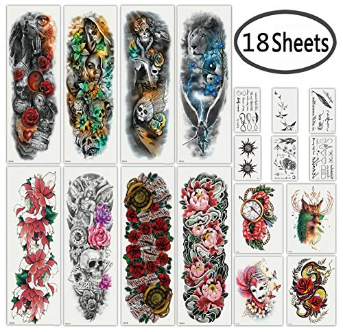 DaLin Extra Large Full Arm Temporary Tattoos and Half Arm Tattoo Sleeves for Men Women, 18 Sheets (Collection 2)]()