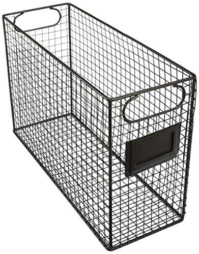 Wire Rack Label Holders (Mesh Wire Brown Metal Document Storage Container / Magazine Rack / File Folder Organizer w/ Label Holder)