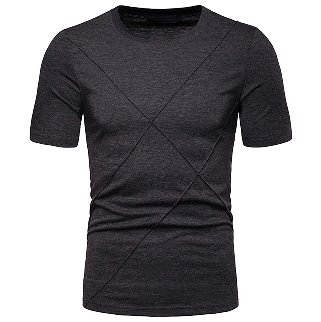 Mens Solid Color T Shirt Crew Neck Short Sleeve Slim Fit Tops Sweatshirts Shirts for Workout Daily Casual