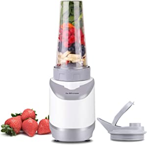 La Reveuse Smoothies Blender Personal Size 400 Watts with 18 oz BPA Free Portable Travel Sports Bottle, White