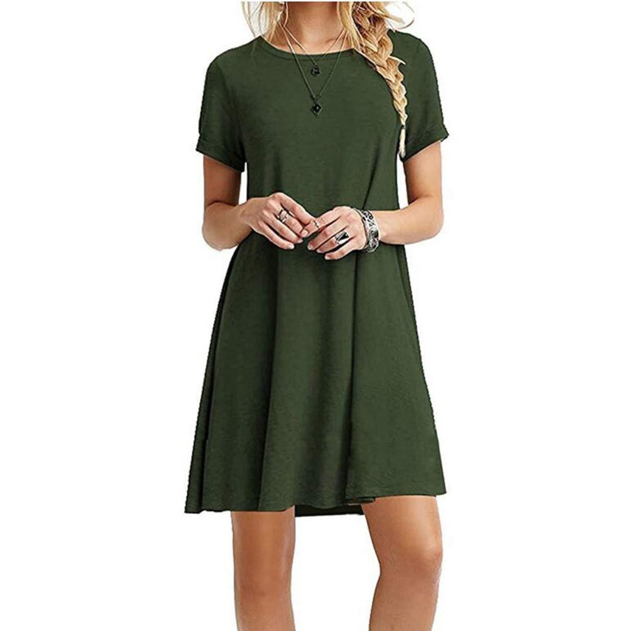 Green Artreurfomrdh Women's Short Sleeve Simple Flowy Comfy Loose Dress