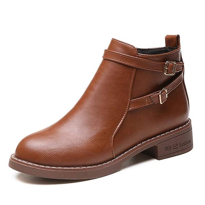 Naturazy Botas,Mujeres Botas De CinturóN Damas Botas De Faux Botines Tacones Altos Zapatos Botines
