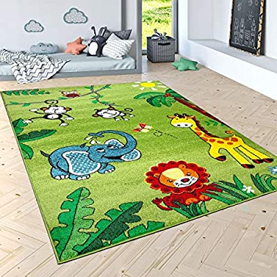 Paco Home Kids Rug with Cute Jungle Animals for Boys Bedroom Low Pile Area Rug in Modern Green, Size:5'3