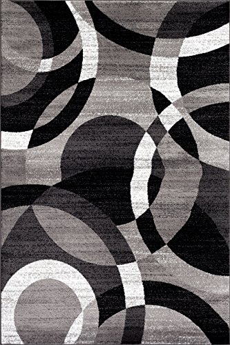 Rugshop Contemporary Modern Circles Area Rug Abstract Runner, 2′ x 7'2″, Gray
