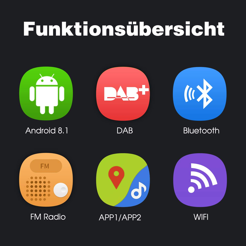 USB Android Auto WiFi MicroSD 1 Din 2 Din Universal PUMPKIN Android 8.1 Autoradio Moniceiver mit Navi 10,1 Zoll IPS Bildschirm Unterst/ützt Bluetooth DAB