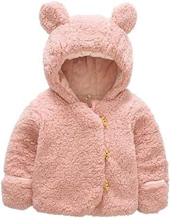 Toddler Kids Baby Boy Girl Outwear Faux Fur Teddy Bear Hooded Winter Coat Jacket