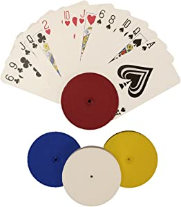 4 Piece Round Card Holders in Red, White, Yellow & Blue, Multi