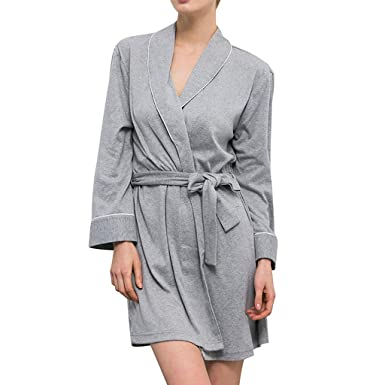 GREFER Women Robe Soft Kimono Robes Cotton Bathrobe Sleepwear Loungewear  Short at Amazon Women s Clothing store  4ae59e6a0