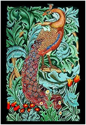 Orange Anemone Flower  Acanthus Vine William Morris Counted Cross Stitch Pattern