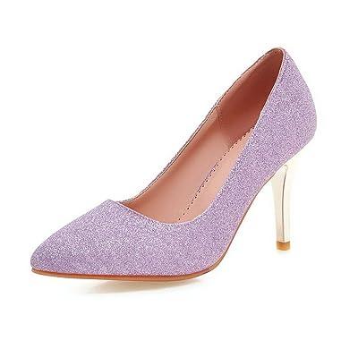 AgooLar Femme Couleur Unie Tissu à Paillette à Talon Haut Pointu Tire Chaussures Légeres