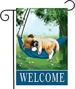 Welcome funny puppy garden sign vertical double-sided, spring outdoor 12x18 dog garden flag, Lawn farmhouse holiday summer yard decoration