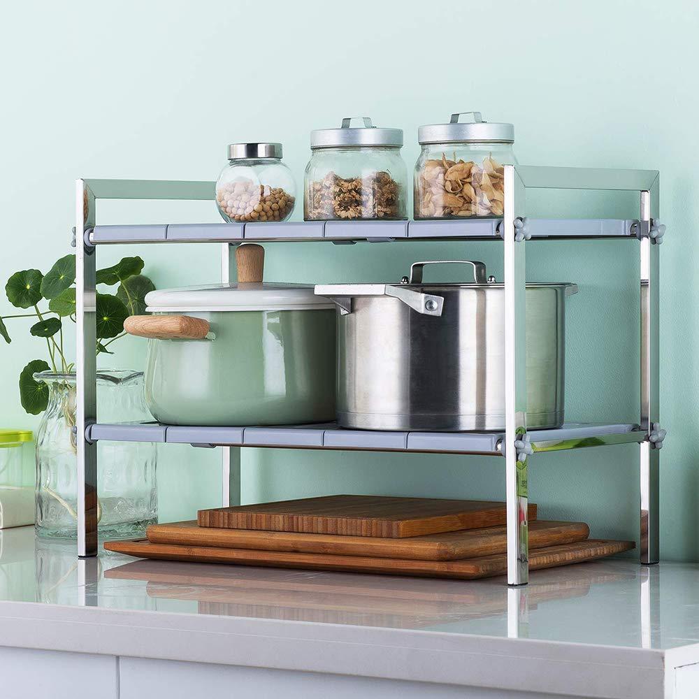 . Amazon com  SINGAYE 2 Tier Expandable Under Sink Rack Kitchen