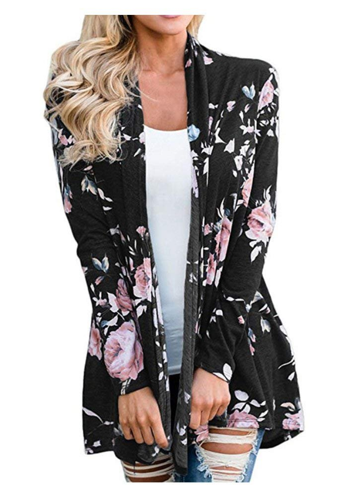 AuntTaylor Womens Chic Long Flowy Cardigan Causal Boho Front Open Jackets Black XL by AuntTaylor (Image #1)