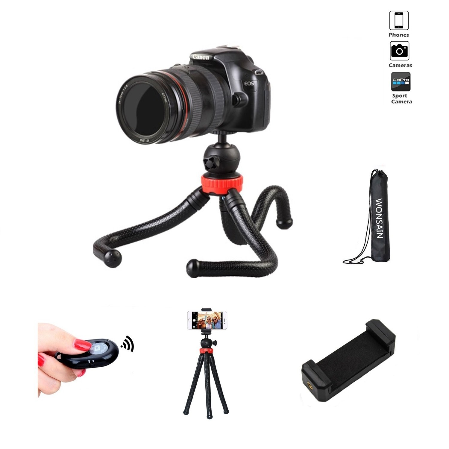 Premium Phone Camera Tripod, Wonsain 12'' Flexible Mini Travel Tripod Stand with Bluetooth Remote Control for GoPro/Canon/Nikon/Sony DSLR/Cellphone Tripod Stand Holder For iPhone/Android Phone